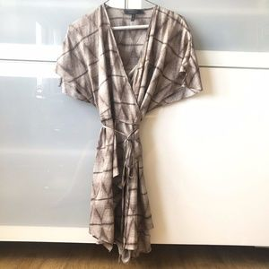 BCBG Silky Mini Flowy Wrap Dress